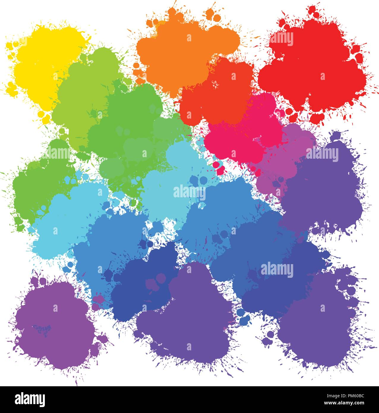 colorful splashes backgrounds pattern, vector background for print decoration. CMYK color space. - Stock Image