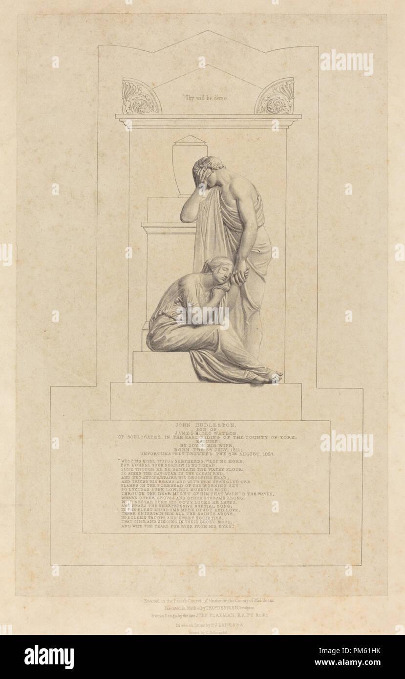 Monument to John Hudleston. Medium: lithograph on papier colle. Museum: National Gallery of Art, Washington DC. Author: Richard James Lane after John Flaxman. - Stock Image