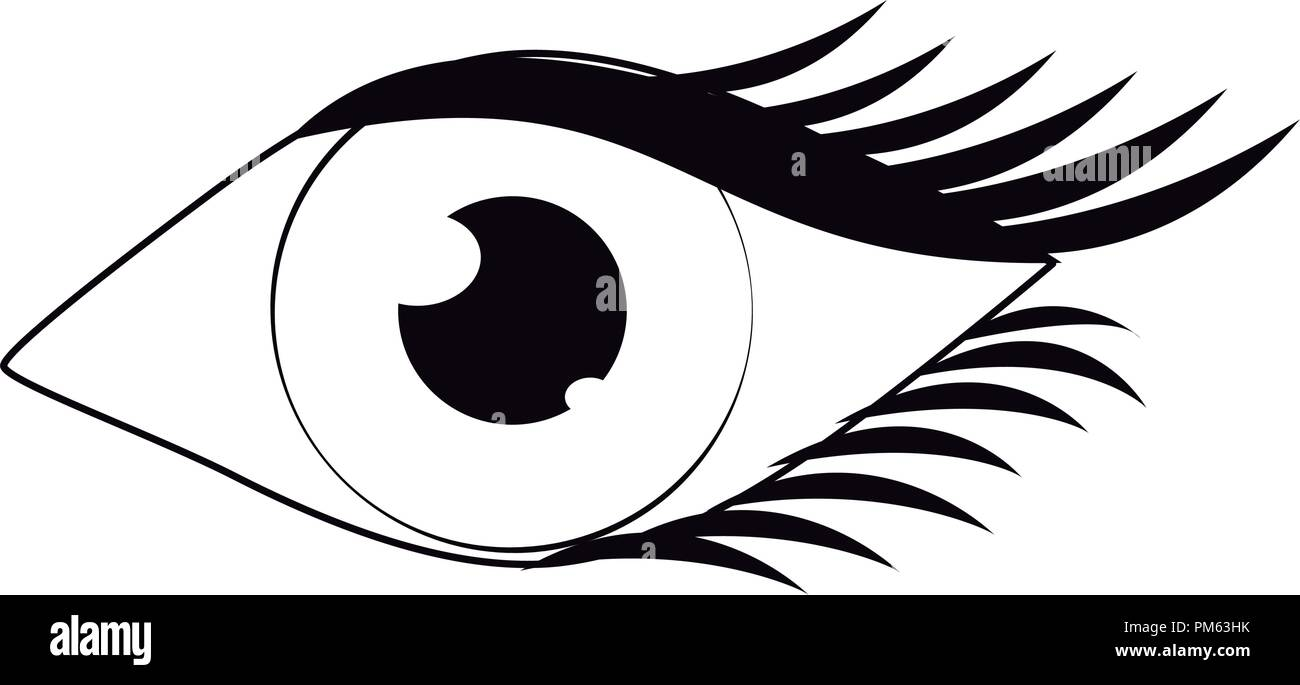 Women eye cartoon in black and white