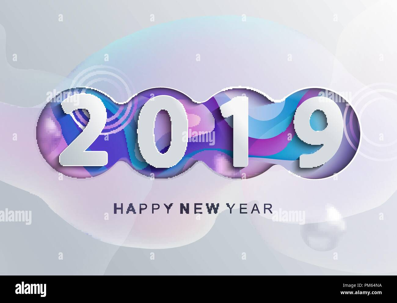 2019 creative happy new year card in paper style for your seasonal holidays flyers greetings and invitations cards and christmas themed congratulations and