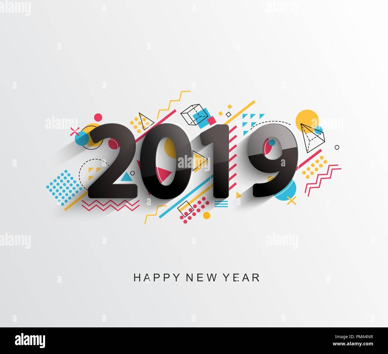 modern creative new 2019 year design card with geometric shapes on background for your seasonal holidays