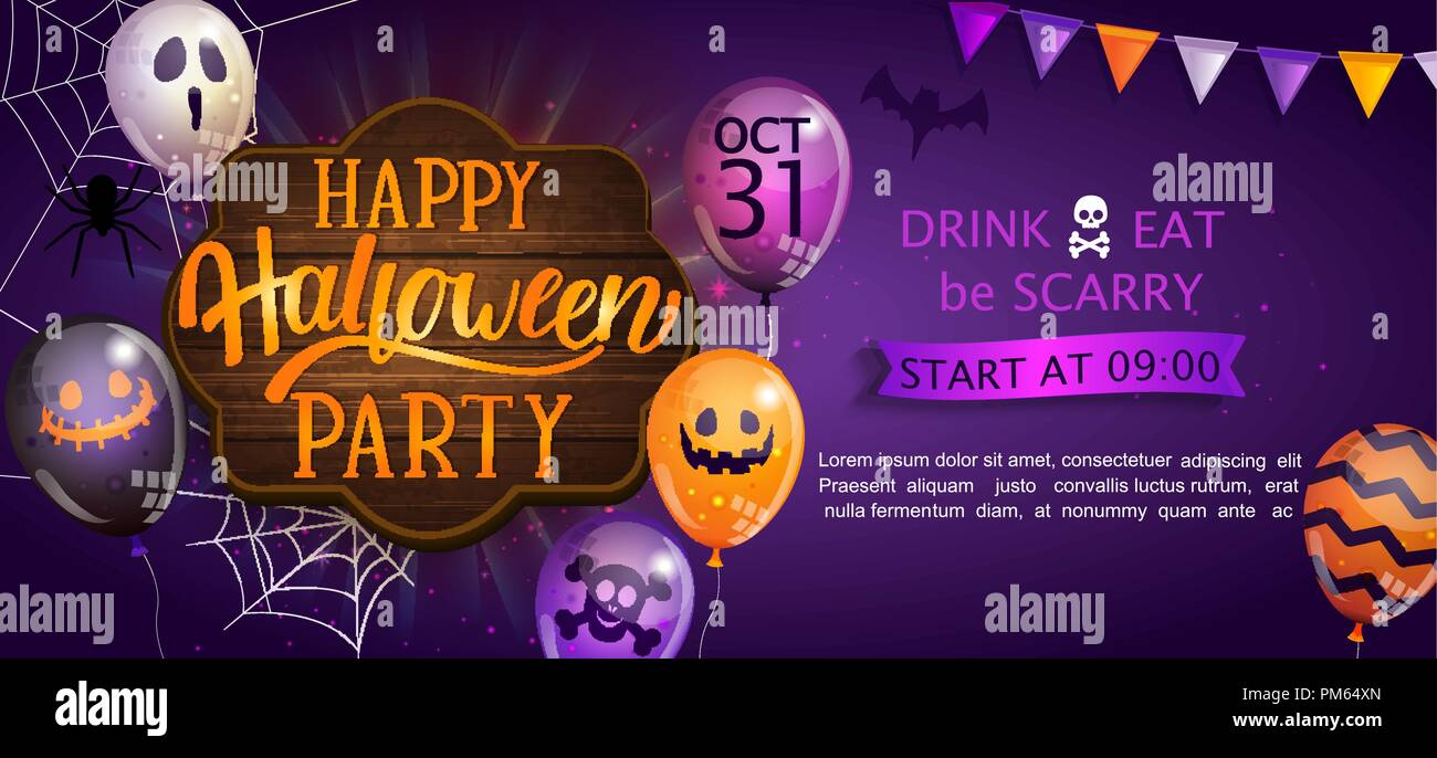 welcome banner for happy halloween party with lettering on wooden