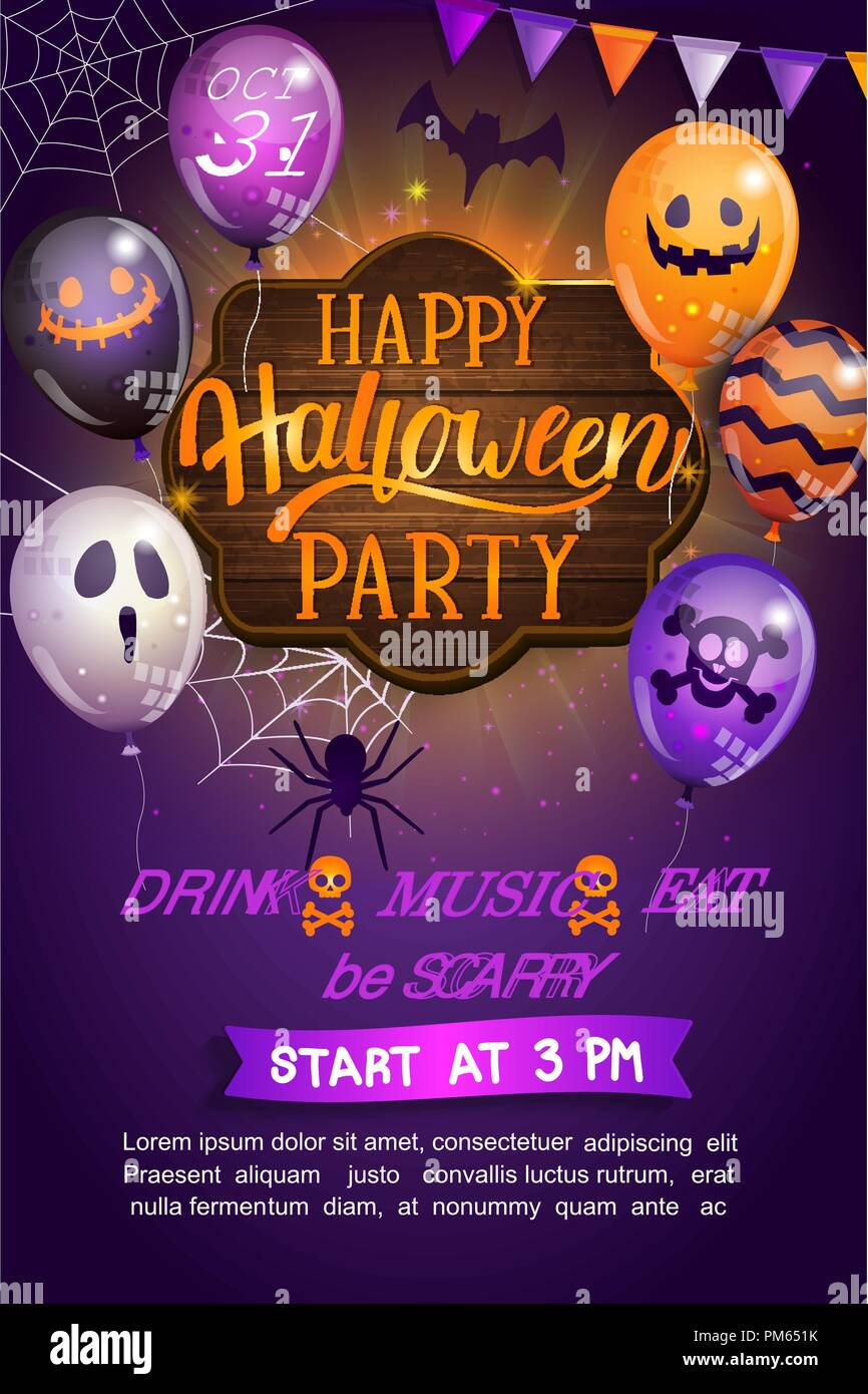 Welcome Flyer for Happy Halloween party with lettering on wooden board and monster balloons. Invitation and greeting card with spider and bat for web, poster, placard, banners. Vector illustration. Stock Vector