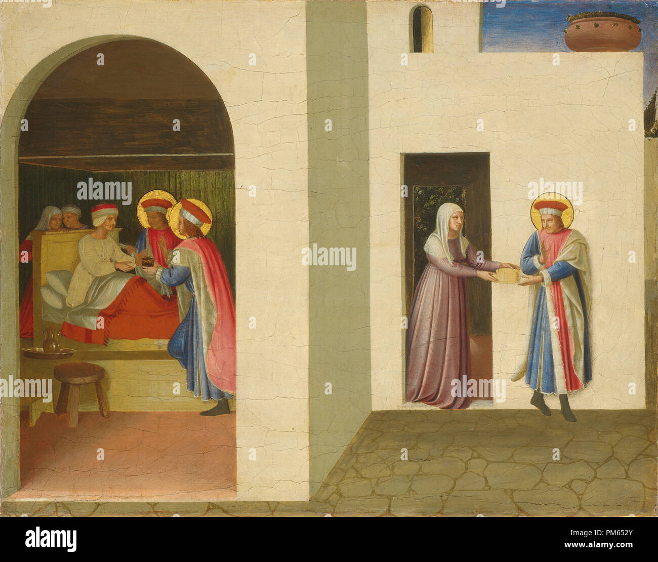 The Healing of Palladia by Saint Cosmas and Saint Damian. Dated: c. 1438/1440. Dimensions: painted surface: 36.2 x 46.3 cm (14 1/4 x 18 1/4 in.)  support: 38.1 x 47.5 cm (15 x 18 11/16 in.)  framed: 49.5 x 60.3 x 5.1 cm (19 1/2 x 23 3/4 x 2 in.). Medium: tempera (and oil?) on panel. Museum: National Gallery of Art, Washington DC. Author: FRA ANGELICO. - Stock Image