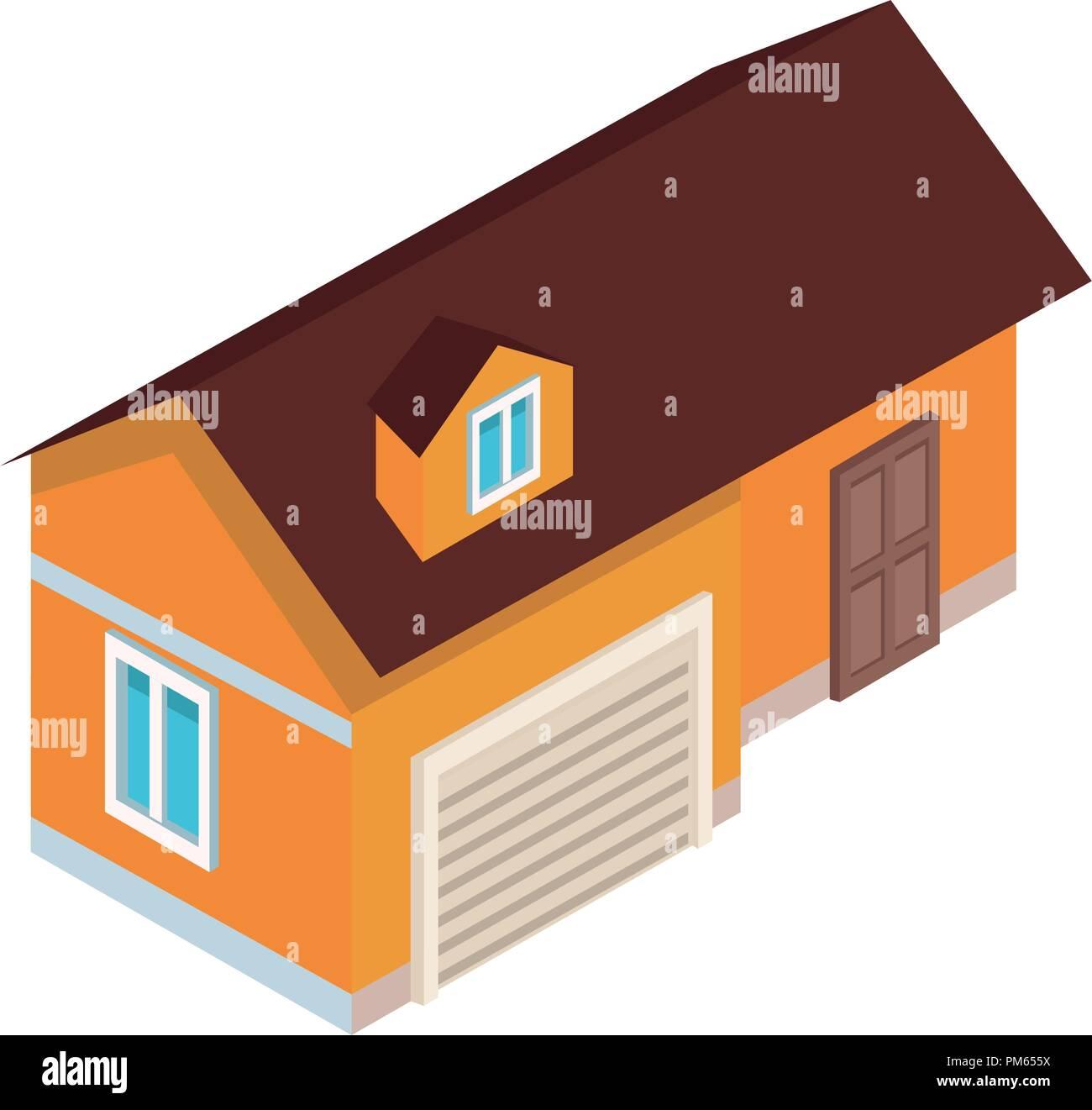 House isometric scenery - Stock Image