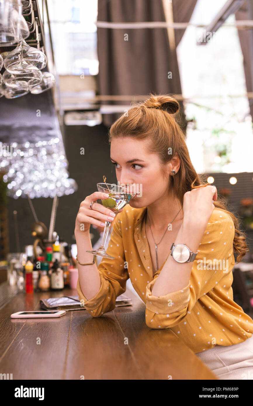 Drinking The - And 218955794 At Alcohol Cute Alamy Girl Young Looking Stock Photo Barman