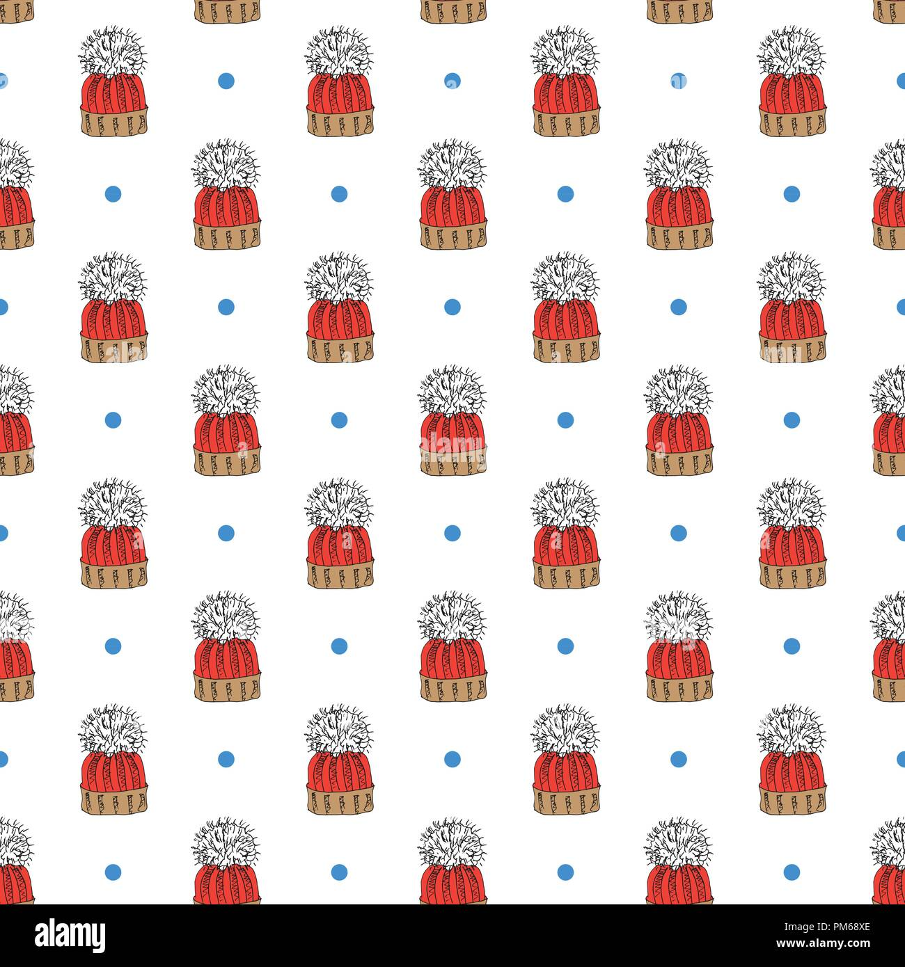 Winter Season Doodle Clothes Seamless Pattern Hand Drawn