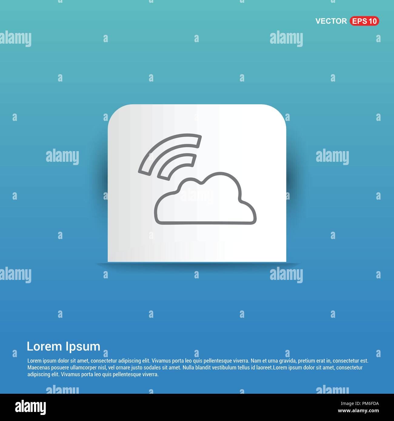 Wifi signal icon - Blue Sticker button - Stock Image