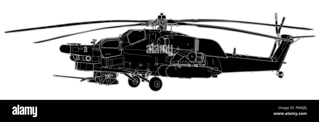 Vector sketch of Mi-28 Havoc military helicopter - Stock Vector