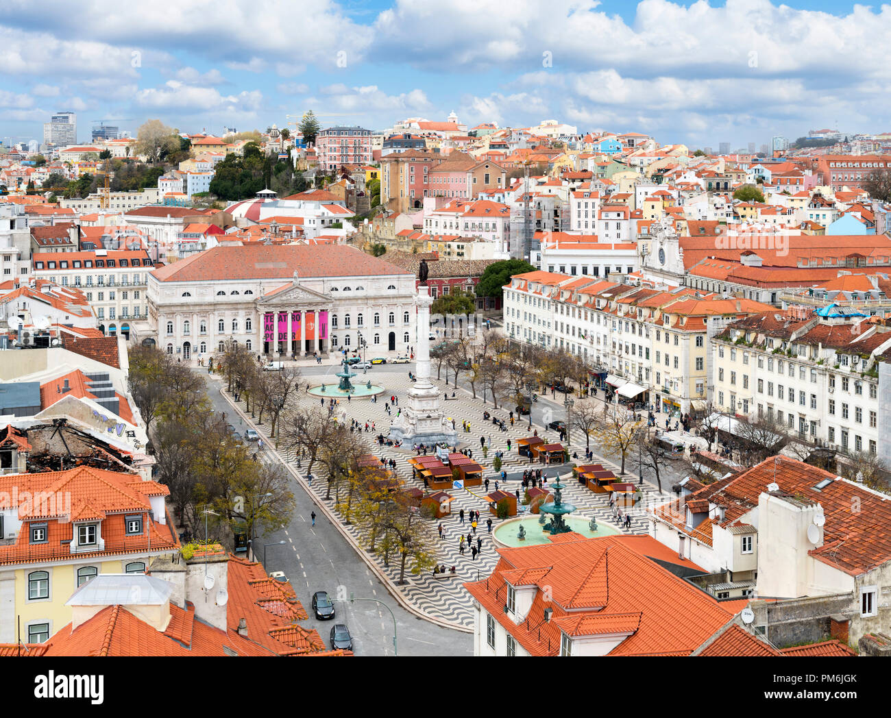 View over Praca Dom Pedro IV ( Rossio ) from the Santa Justa lift, Baixa district, Lisbon, Portugal - Stock Image