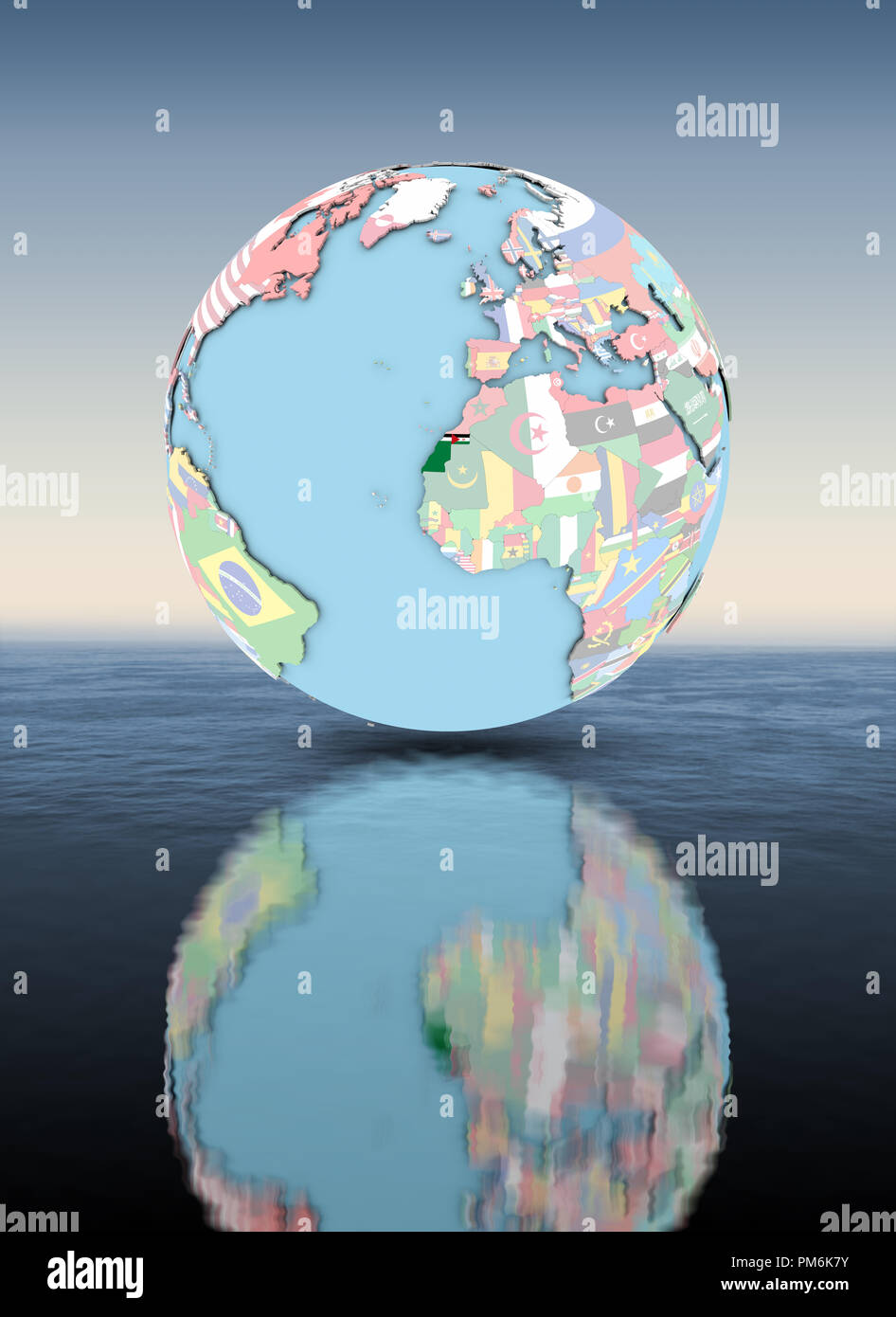 Western Sahara on political globe with national flags floating above water. 3D illustration. - Stock Image