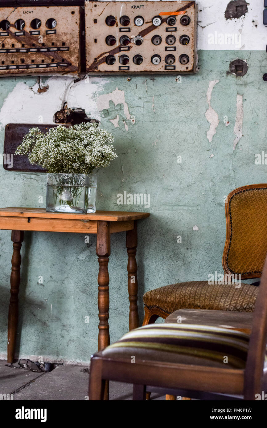 wooden, rustic chair and table in vintage living room Stock ...