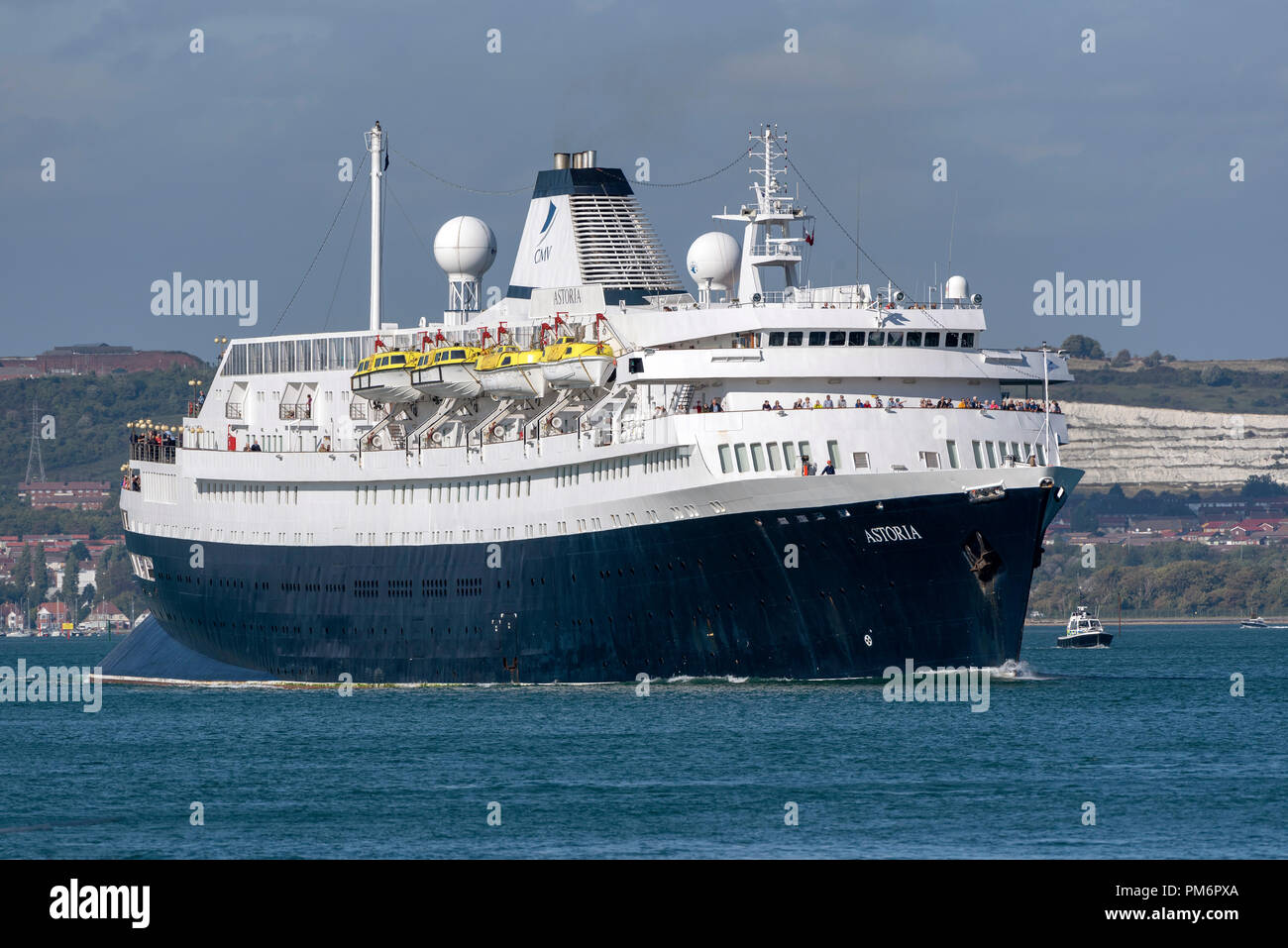 MV Astoria departing Portsmouth England UK. Came into service in 1946 and is the second oldest cruise ship in service. Stock Photo