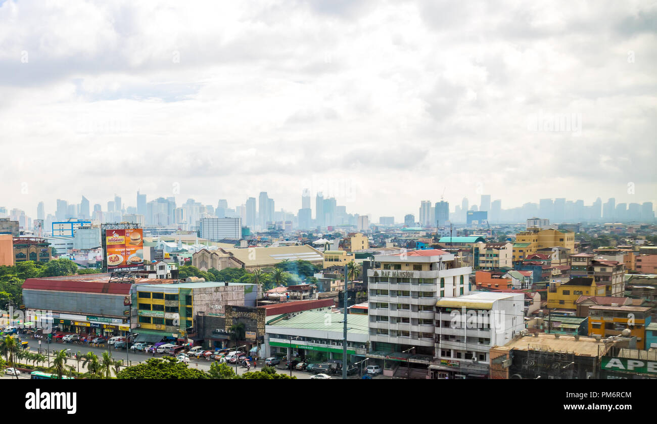Pasay, Metro Manila, Philippines - August 11, 2016: View Of Buildings In Manila - Stock Image