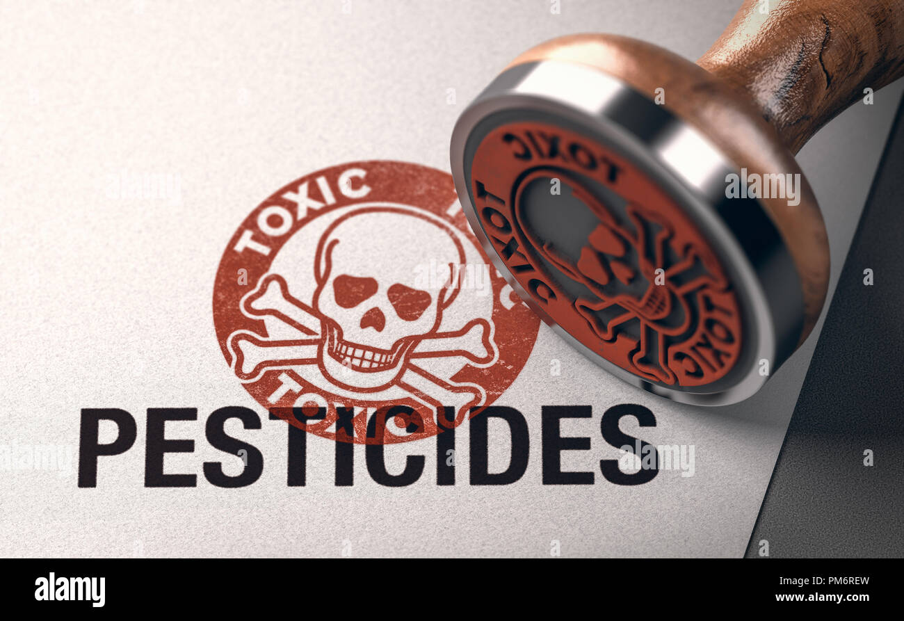3d illustration of a rubber stamp with a skull silhouette and the words toxic and pesticides printed on paper background. Concept of chemicals toxicit - Stock Image