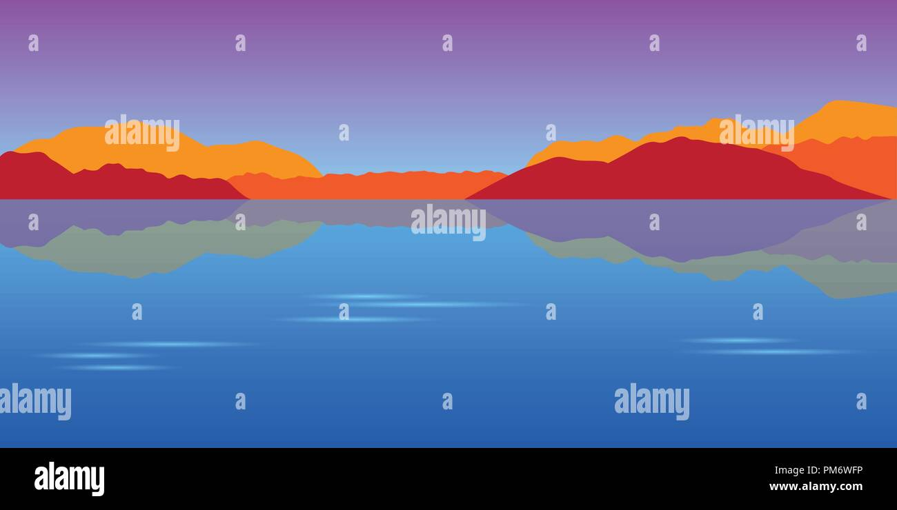 beautiful lake and mountains autumn landscape vector illustration EPS10 - Stock Vector