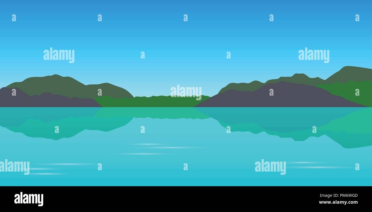 beautiful turquoise lake tekapo mountain view landscape vector illustration EPS10 - Stock Vector