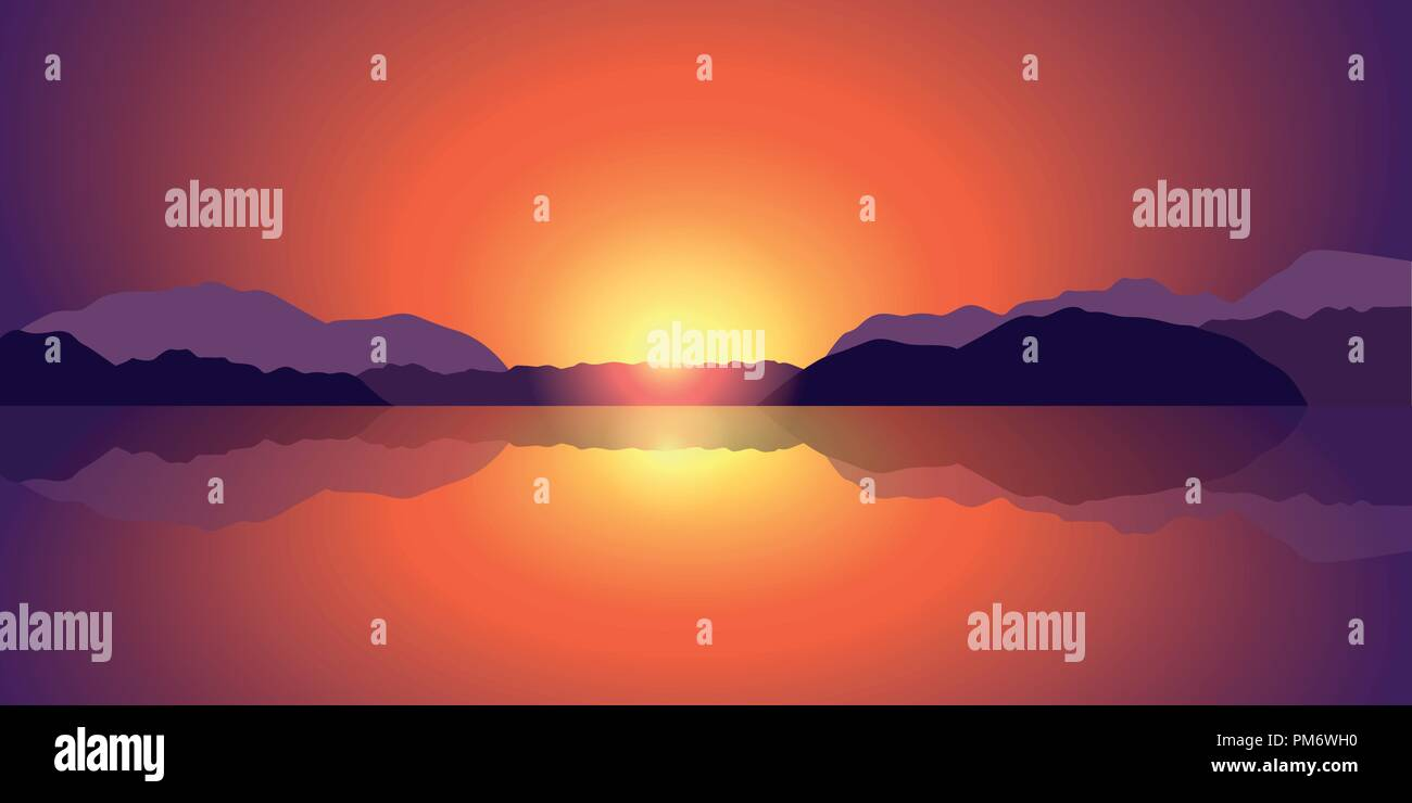 beautiful sunset lake and mountain landscape background vector illustration EPS10 - Stock Vector