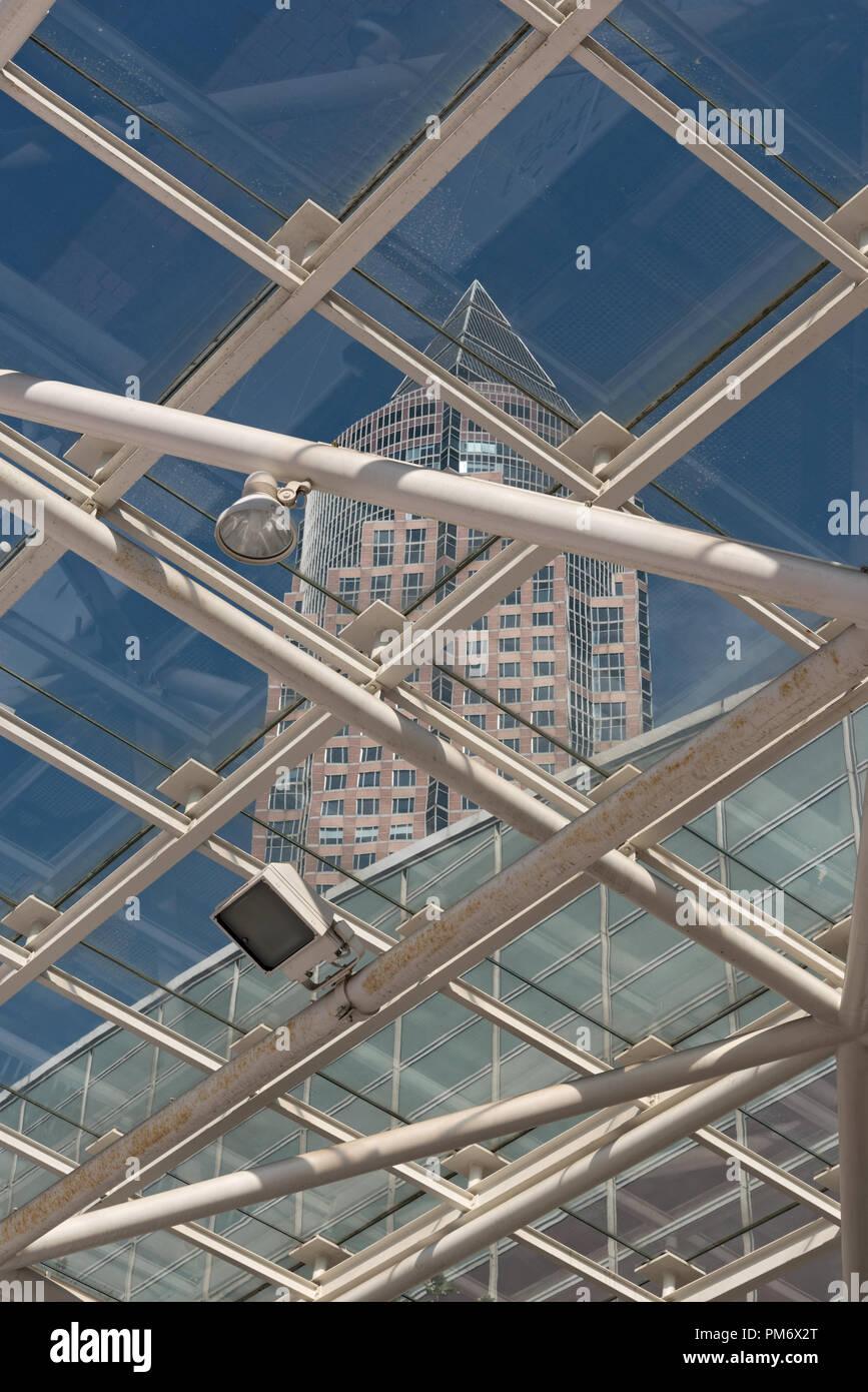 the trade fair tower, messeturm and hall. Stock Photo