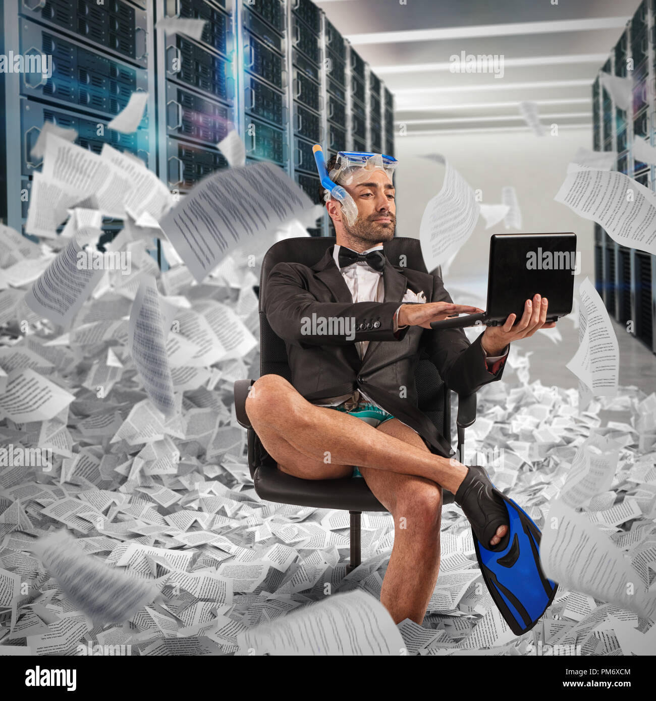 Digitization concept from paper to digital. Businessman uploads documents to a database - Stock Image