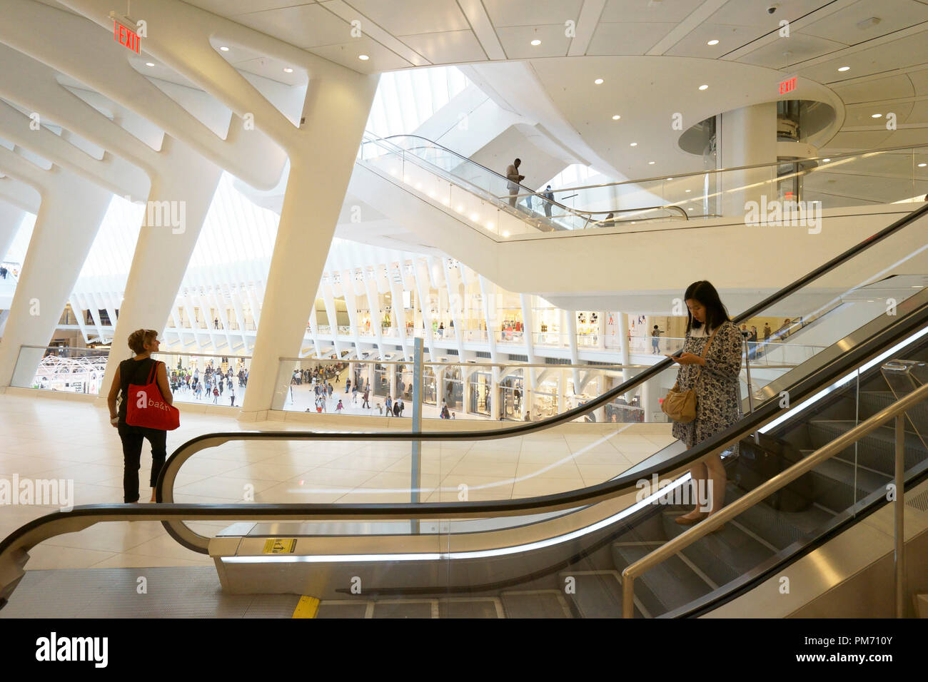 Interior view of the Oculus aka Westfield World Trade Center Mall.Manhattan.New York City.USA Stock Photo