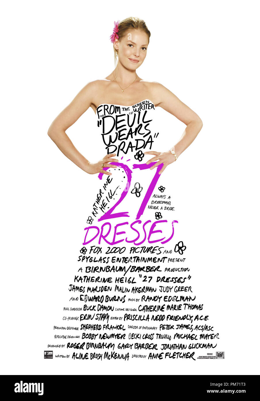 '27 Dresses' Poster © 2008 20th Century Fox  File Reference # 30755216THA  For Editorial Use Only -  All Rights Reserved - Stock Image