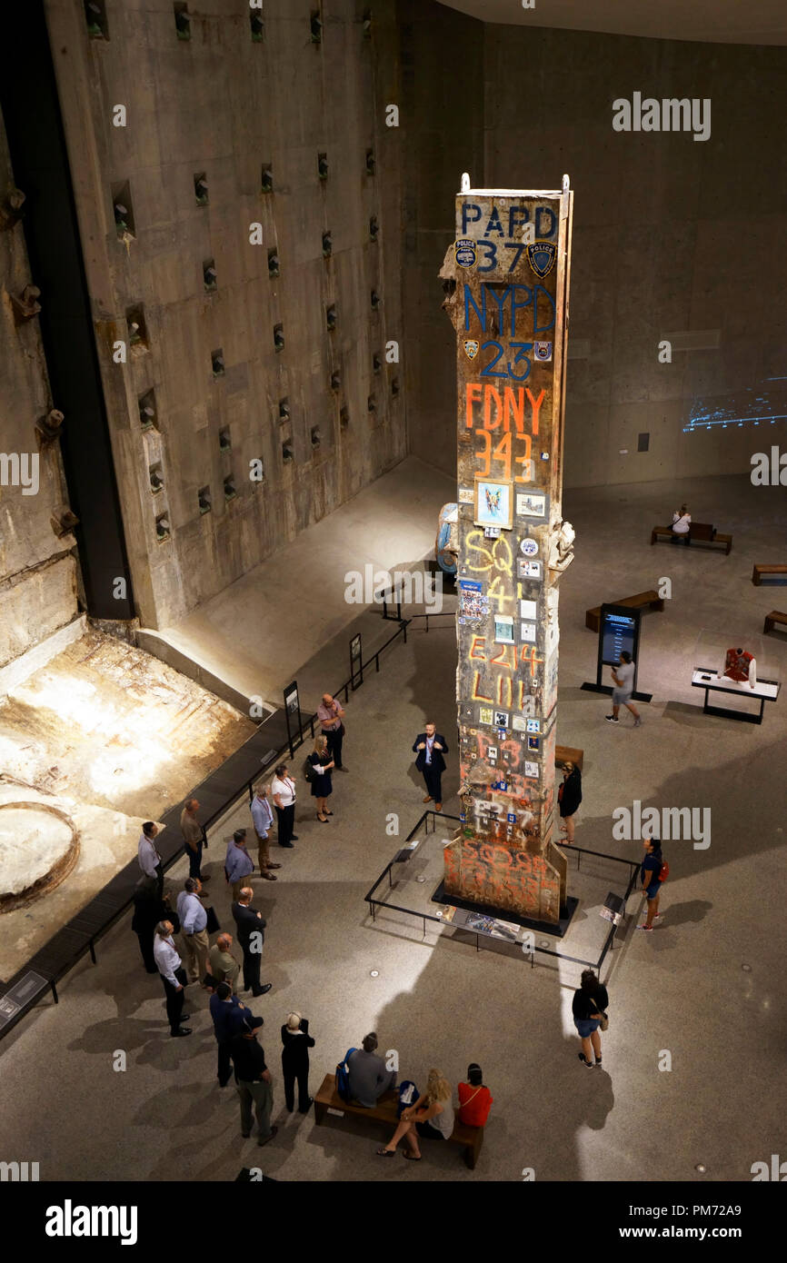 The last steel column removed from Ground Zero display in National September 11 Memorial & Museum.New York City,USA Stock Photo