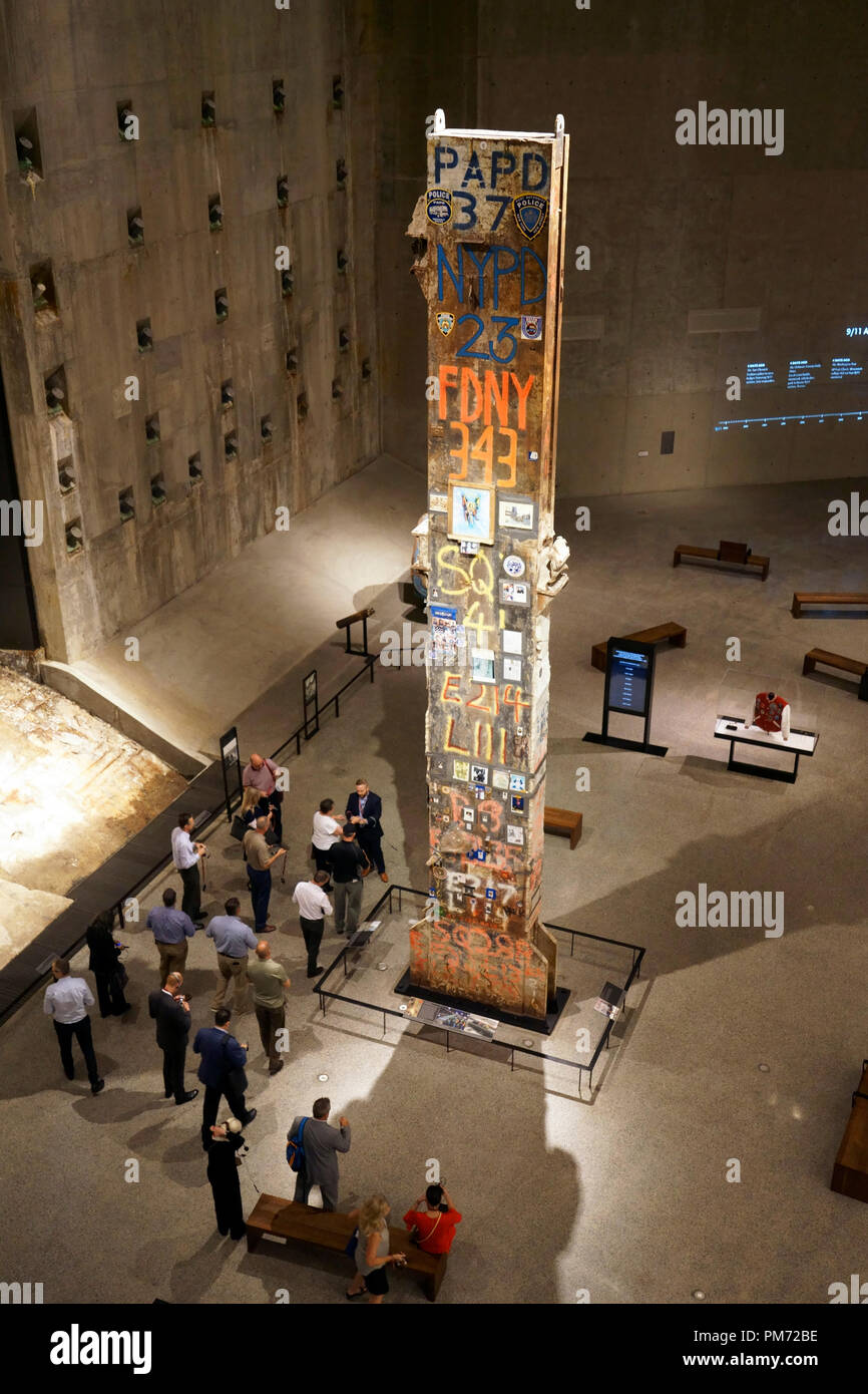 The last steel column removed from Ground Zero display in National September 11 Memorial & Museum.New York City,USA - Stock Image