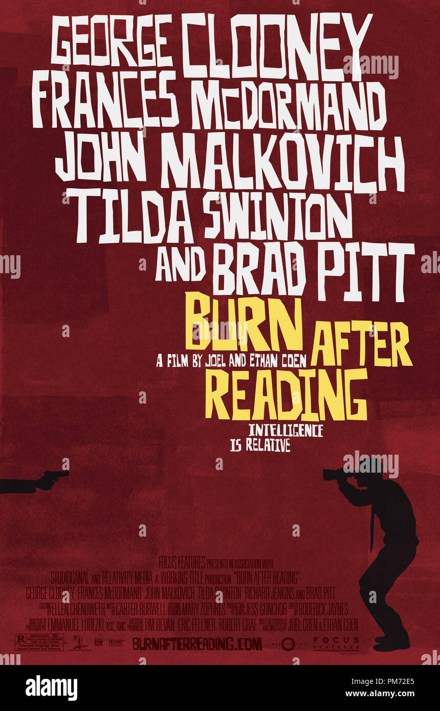 Film Still from 'Burn After Reading' Poster   File Reference # 30755546THA  For Editorial Use Only -  All Rights Reserved - Stock Image