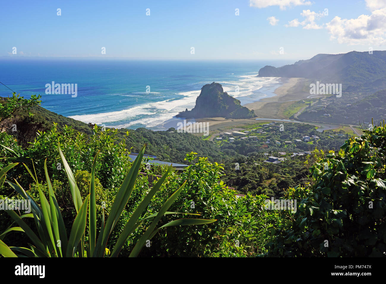 View of the black sand Piha Beach near Auckland in the North Island, New Zealand Stock Photo