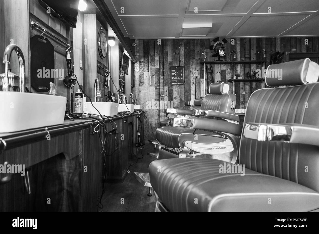 Retro style gents hair salon, Chester UK. August 2018 - Stock Image