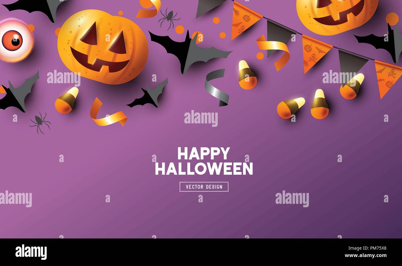 Happy Halloween holiday party Composition with Jack O' Lantern pumpkins and background top view vector illustration. - Stock Vector