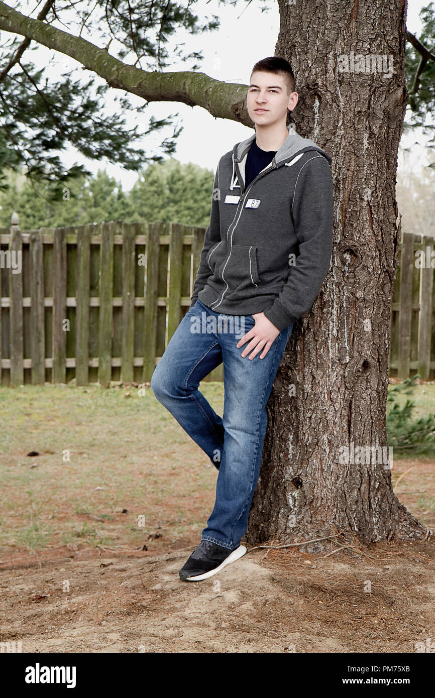 handsome high school senior in an assortment of poses for his senior