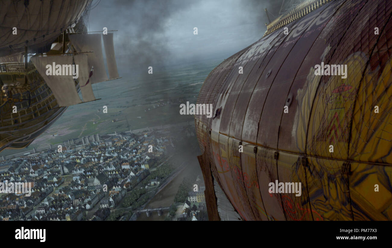 Airships from a scene in THE THREE MUSKETEERS. Stock Photo