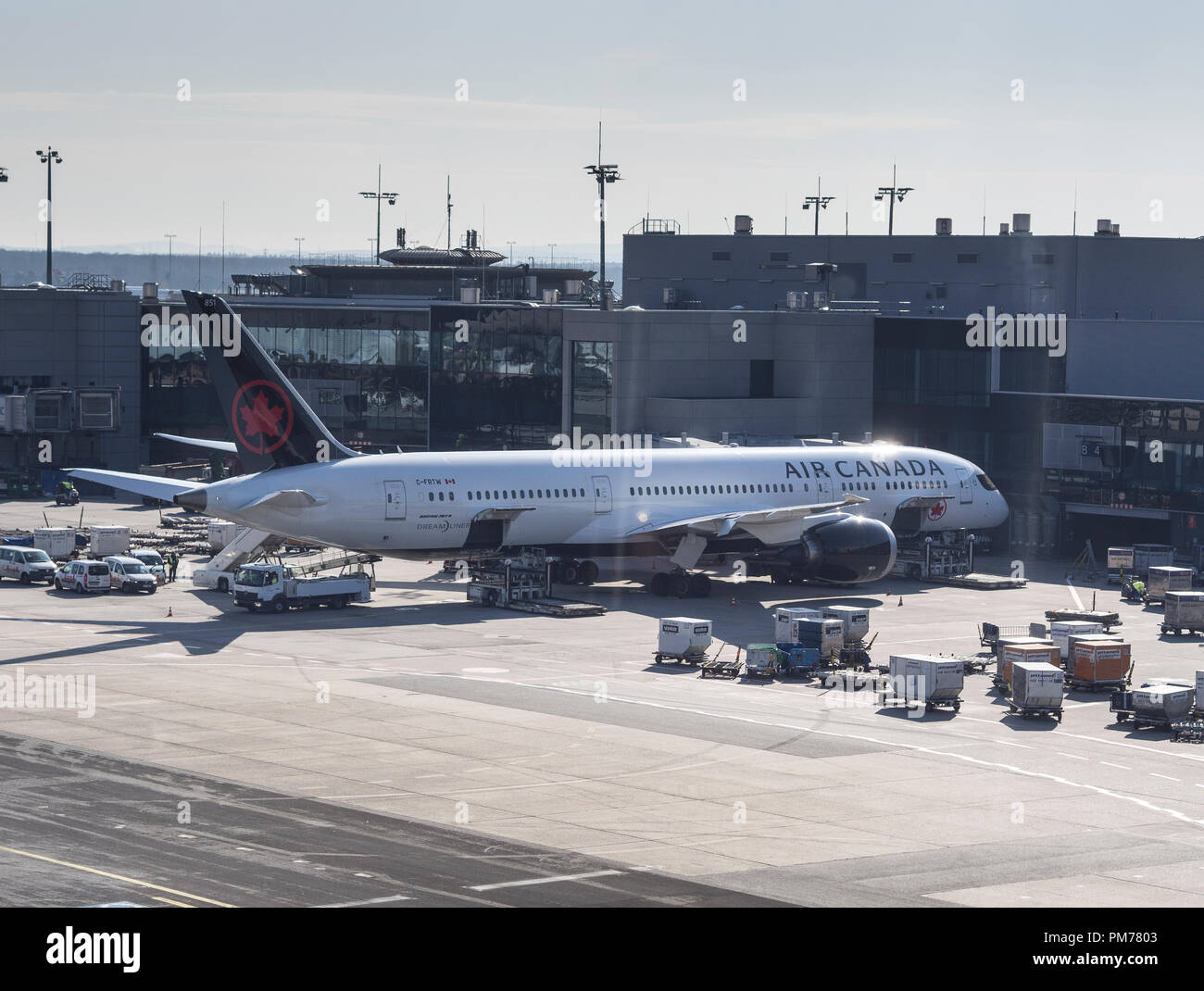 Air Canada aircraft at Frankfurt Airport - Stock Image