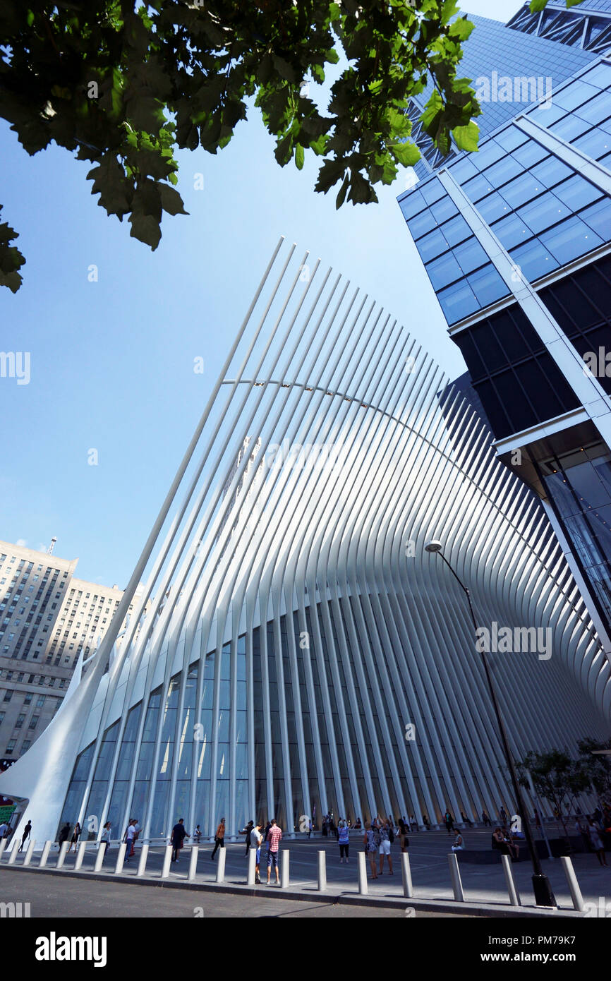 Exterior view of The Oculus, the world trade center transportation hub and Westfield World Trade Center Mall in downtown Manhattan.New York City.USA Stock Photo