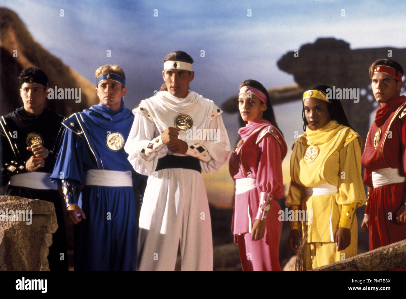 Film Still from 'Mighty Morphin Power Rangers: The Movie' Johnny Yong Bosch, David Yost, Jason David Frank, Amy Jo Johnson, Karan Ashley, Steve Cardenas © 1995 20th Century Fox Photo Credit: Jim Townley  File Reference # 31043215THA  For Editorial Use Only - All Rights Reserved - Stock Image