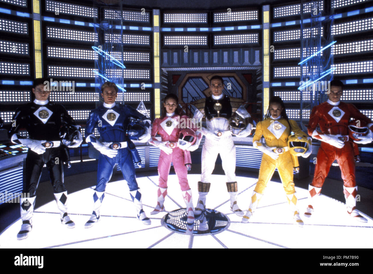 Film Still from 'Mighty Morphin Power Rangers: The Movie' Johnny Yong Bosch, David Yost, Amy Jo Johnson, Jason David Frank, Karan Ashley, Steve Cardenas © 1995 20th Century Fox Photo Credit: Jim Townley  File Reference # 31043216THA  For Editorial Use Only - All Rights Reserved - Stock Image