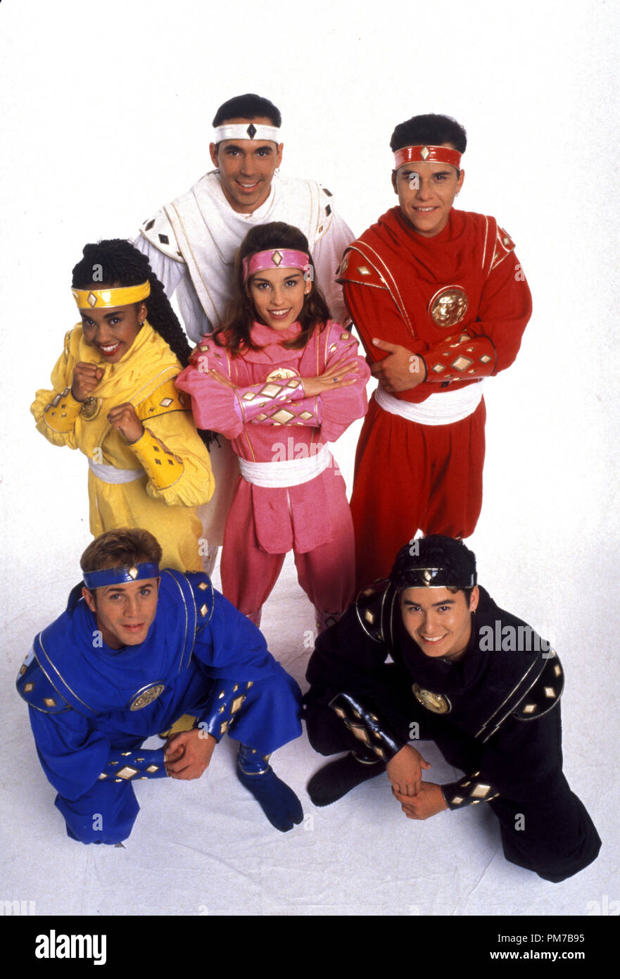 Film Still from 'Mighty Morphin Power Rangers: The Movie' David Yost, Karan Ashley, Jason David Frank, Amy Jo Johnson, Steve Cardenas, Johnny Yong Bosch © 1995 20th Century Fox   File Reference # 31043217THA  For Editorial Use Only - All Rights Reserved - Stock Image