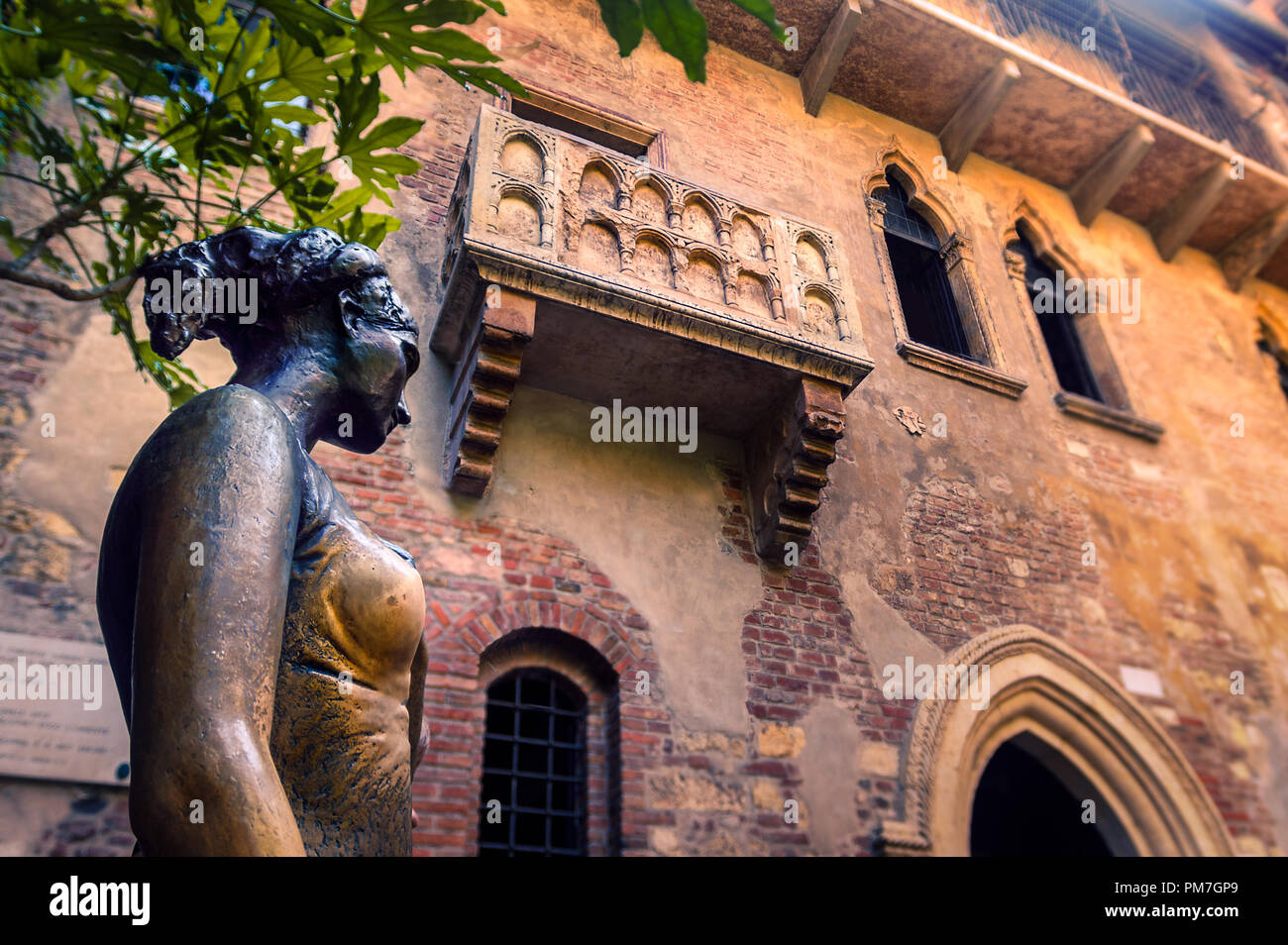 Juliet's Balcony in Verona, Italy - Stock Image