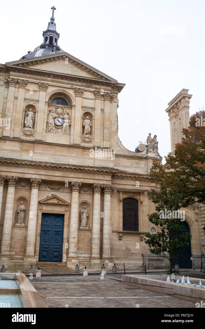 Sorbonne Chapel facade in Paris France. - Stock Image