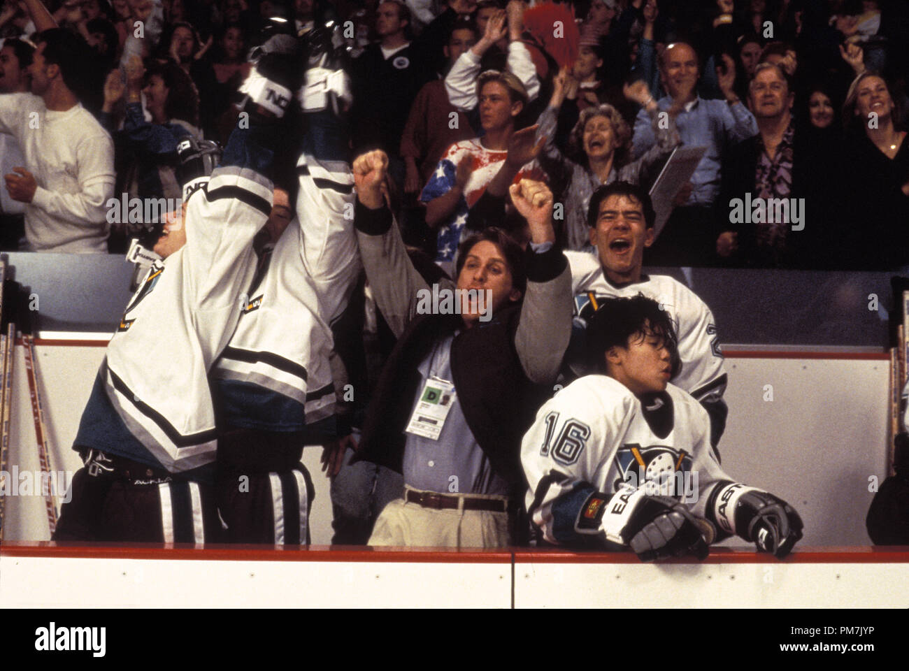 Film Still from 'D2: The Mighty Ducks' Emilio Estevez, Vincent Larusso, Marguerite Moreau, Aaron Lohr, Justin Wong  © 1994 Walt Disney Pictures Photo Credit: Meila Penn   File Reference # 31129373THA  For Editorial Use Only - All Rights Reserved - Stock Image
