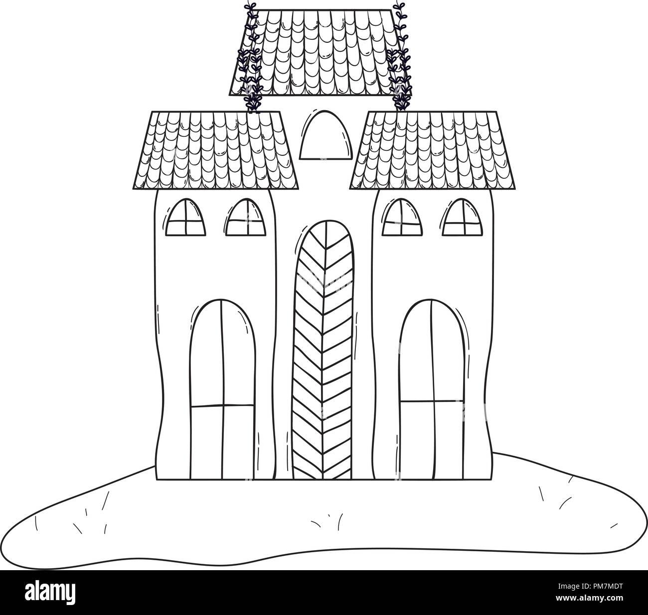 Outline Horror Castle Building Architecture Style