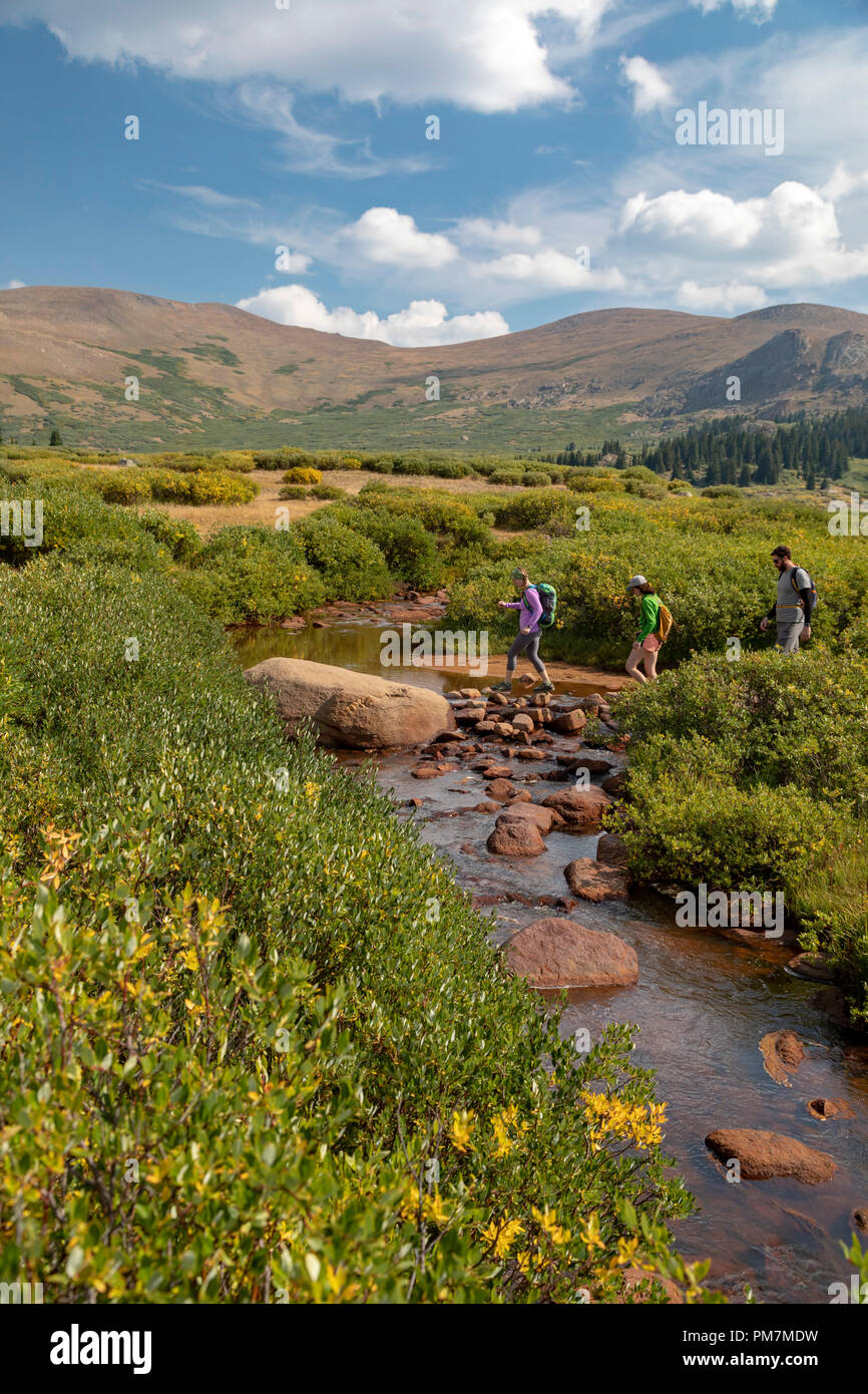 Georgetown, Colorado - Hikers cross a stream on the trail from Guanella Pass to 14,060-foot Mt. Bierstadt in the Mt. Evans Wilderness Area. - Stock Image