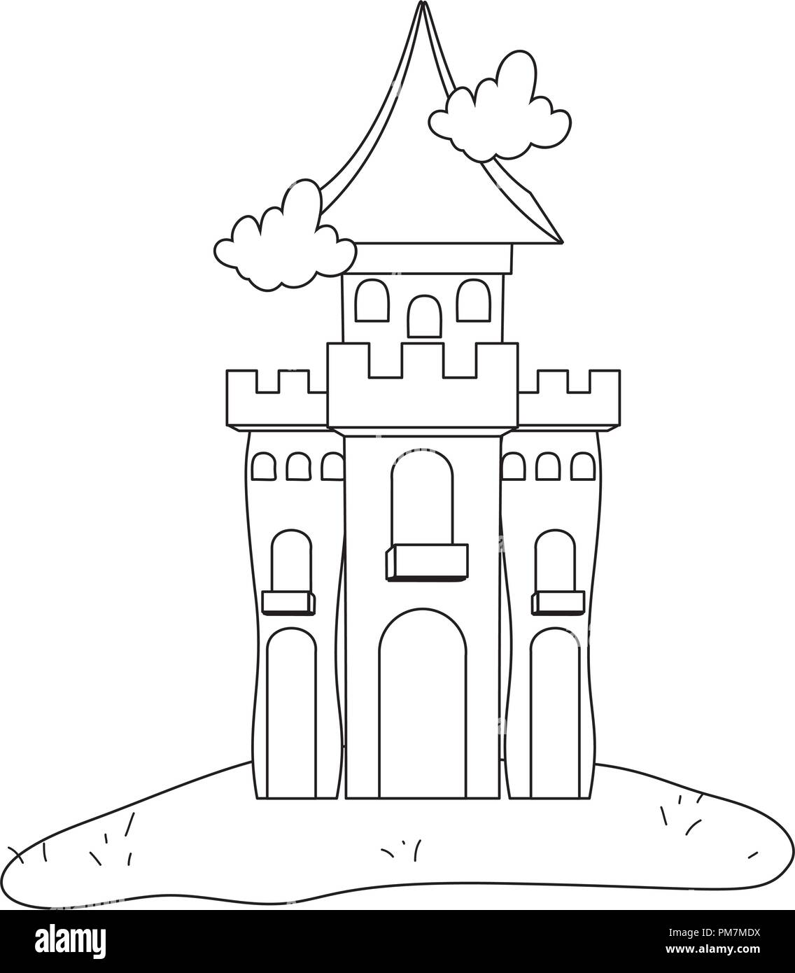 Outline Mystery Castle With Scary Architecture Style Stock Vector