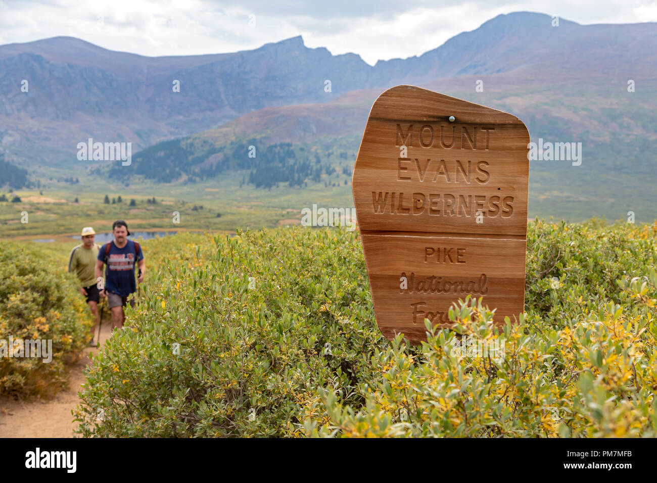Georgetown, Colorado - Hikers on the trail from Guanella Pass to 14,060-foot Mt. Bierstadt in the Mt. Evans Wilderness Area. - Stock Image