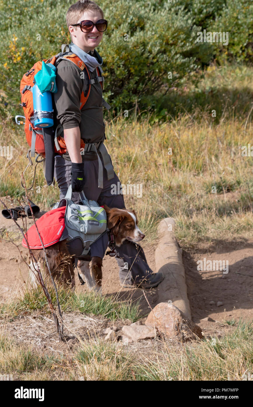 Georgetown, Colorado - A hiker carries a dog on the trail from Guanella Pass to 14,060-foot Mt. Bierstadt in the Mt. Evans Wilderness Area. - Stock Image