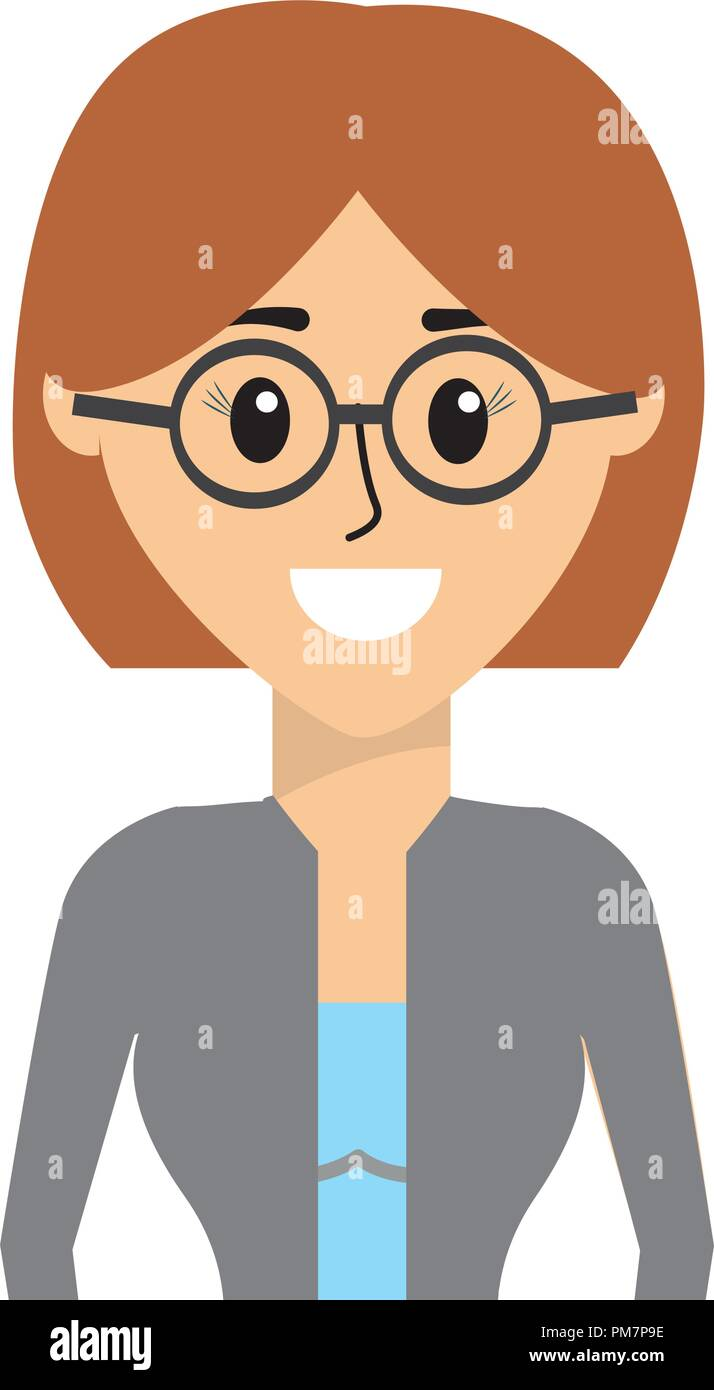 Happy woman wearing glasses with hairstyle stock image