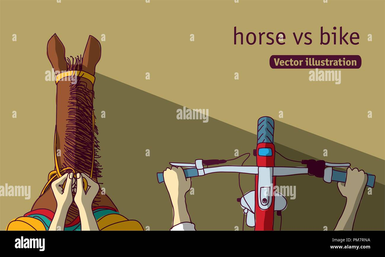 Horse vs bike top view - Stock Vector
