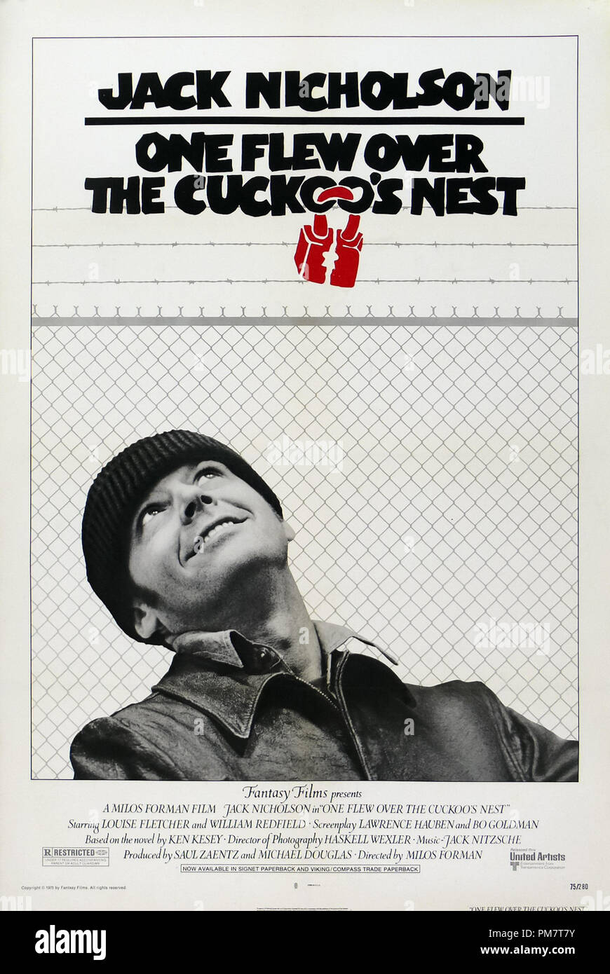 One Flew Over the Cuckoo's Nest 1975 Poster   File Reference # 31386_587THA - Stock Image